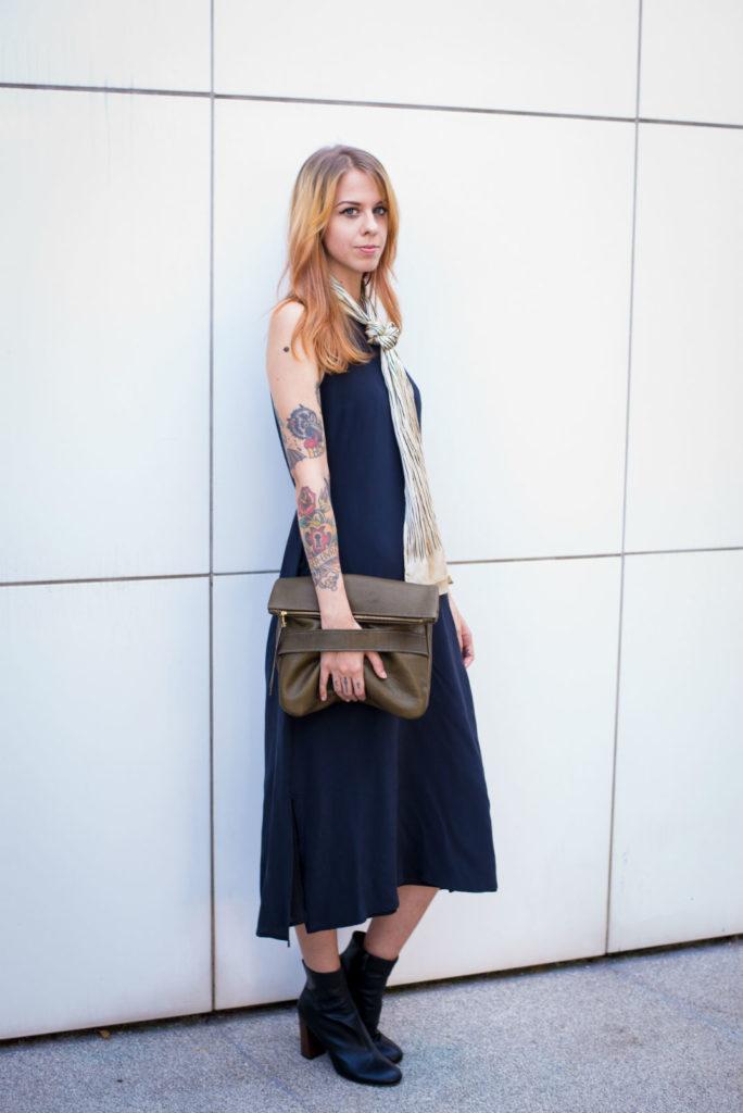 Susannah Caviness modeling a Neva Opet bag